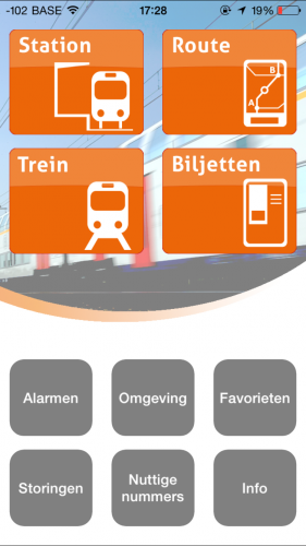 NMBS/SNCB app home screen